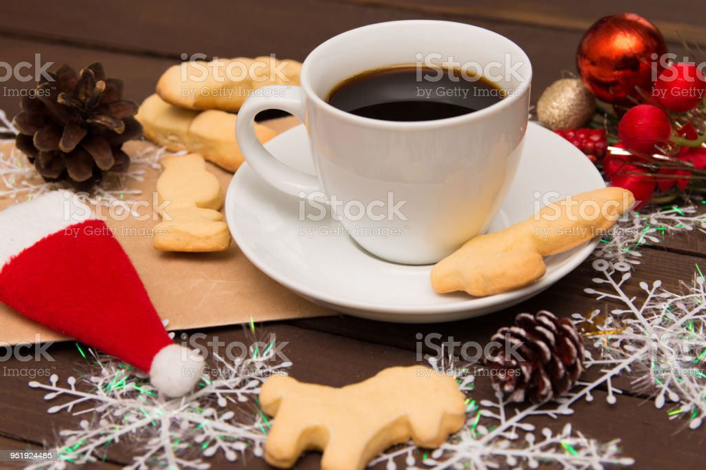 Coffee Christmas Morning.Cup Of Coffee With Cookies On Christmas Morning A Special