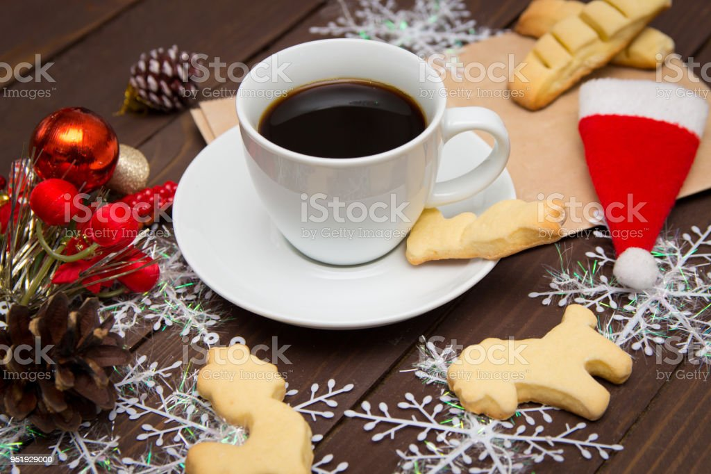 Coffee Christmas Morning.Cup Of Coffee With Cookies On Christmas Morning A Special Toning Christmas Template Stock Photo Download Image Now