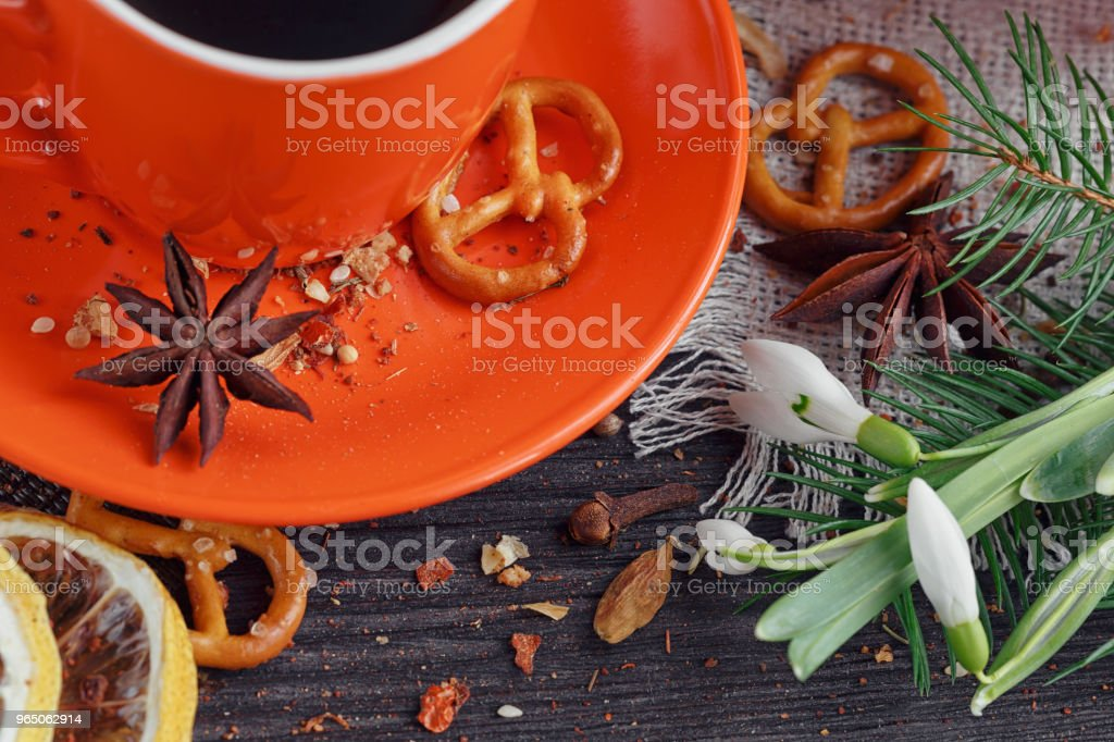 Cup of coffee with cookies royalty-free stock photo