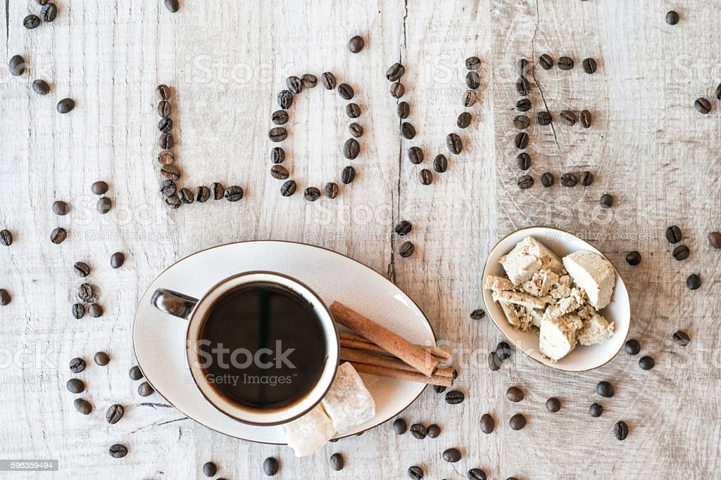 Cup of coffee with delight. title i love coffee royalty-free stock photo
