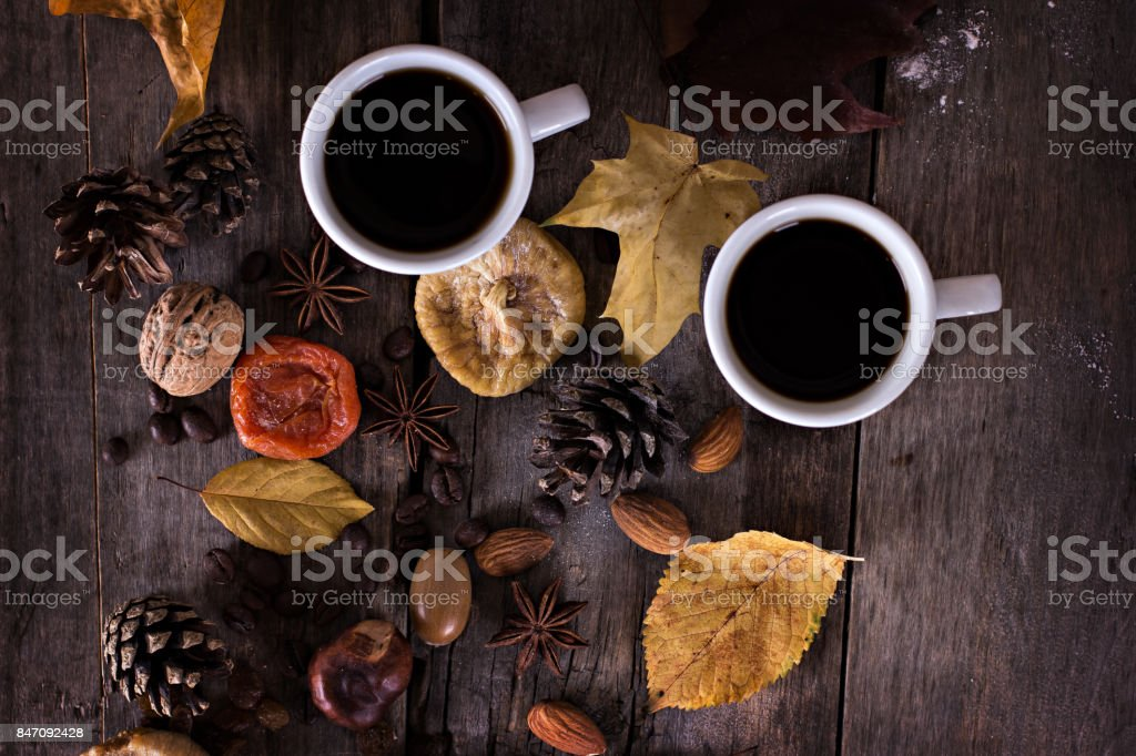 A cup of coffee with espresso and autumn leaves. autumn. Autumn...