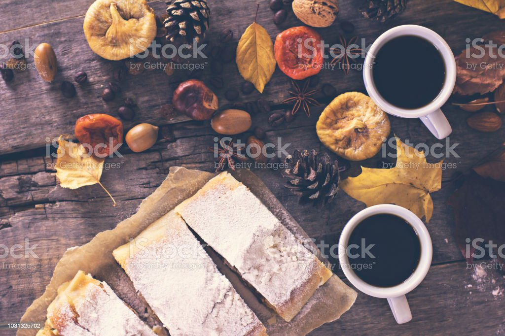 A cup of coffee with espresso, pie and autumn leaves. autumn. Autumn...