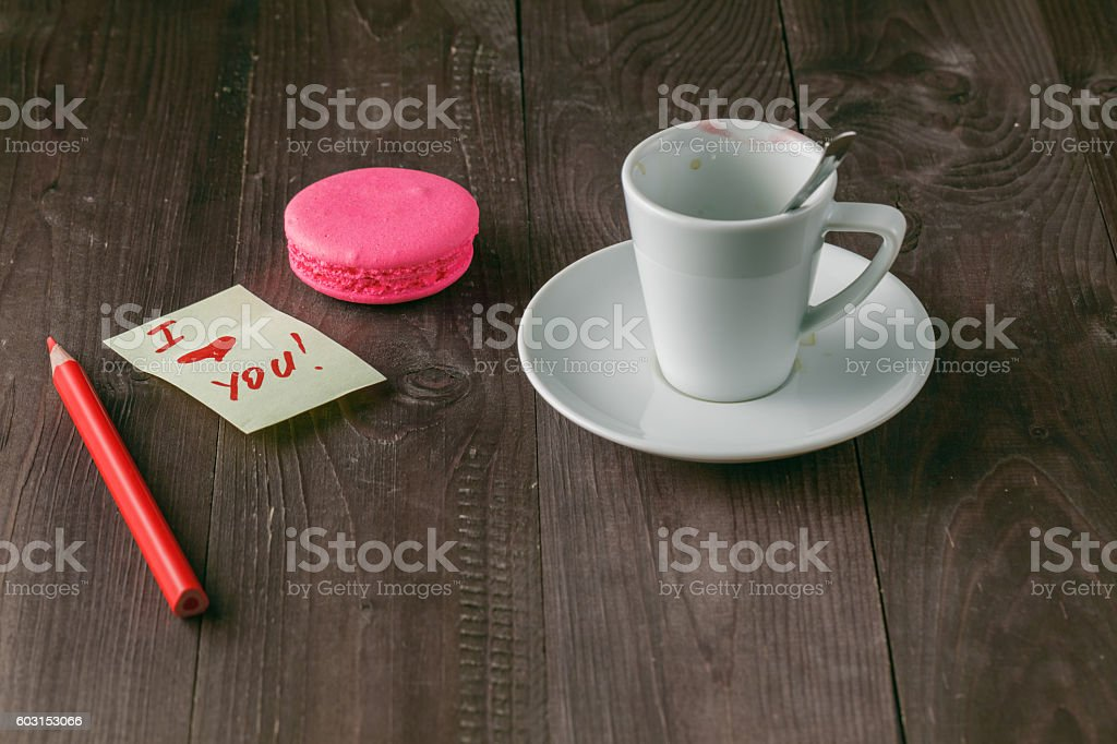 Cup of coffee with lipstick mark stock photo