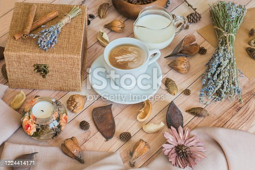 1009835562 istock photo A cup of coffee with milk. Autumn mood. Cozy autumn composition. 1224414171