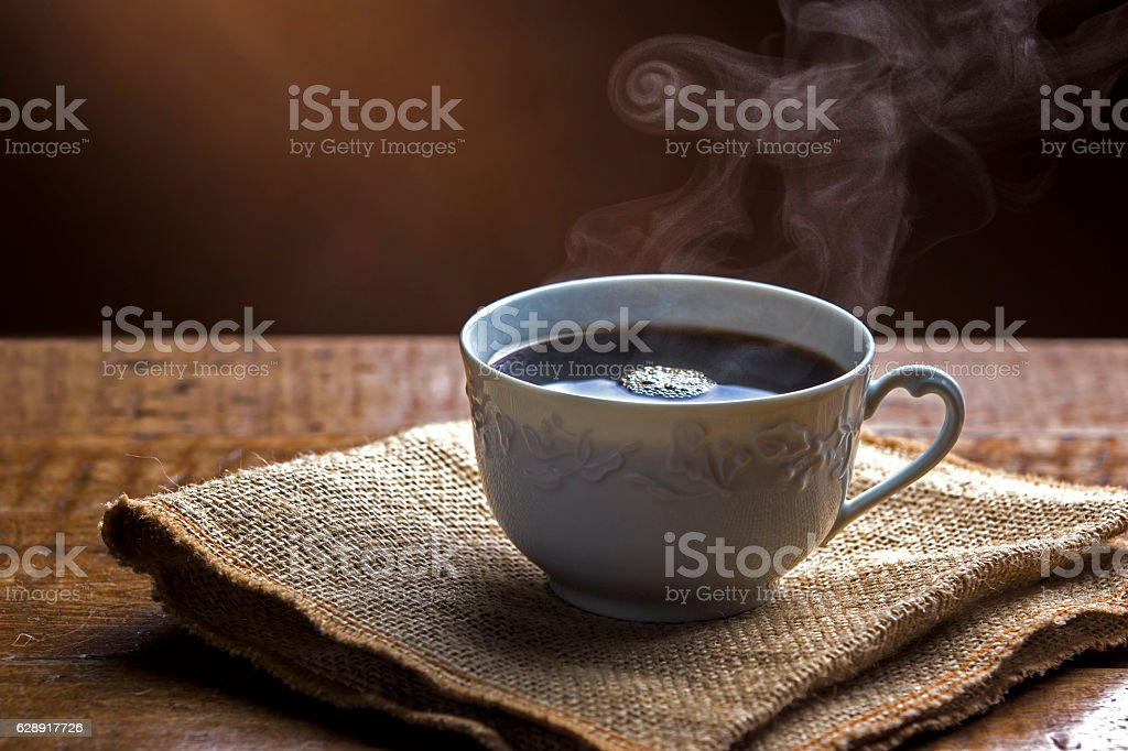 Cup of Coffee with Smoke stock photo
