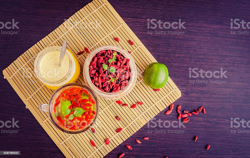 Cup Of Delicious Dietary Goji Berry Tea Stock Photo Download