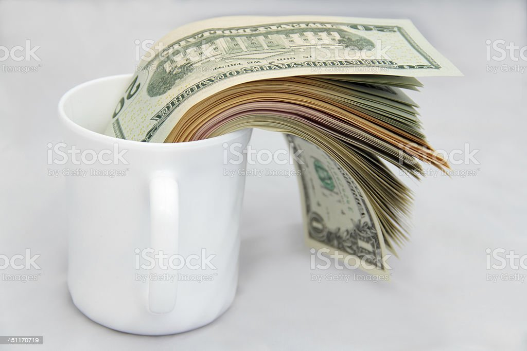 cup of dollar stock photo