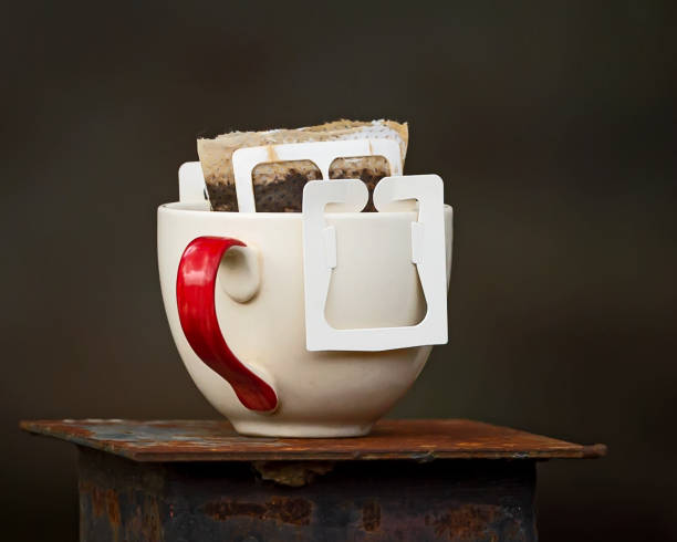 A cup of drip coffee. stock photo