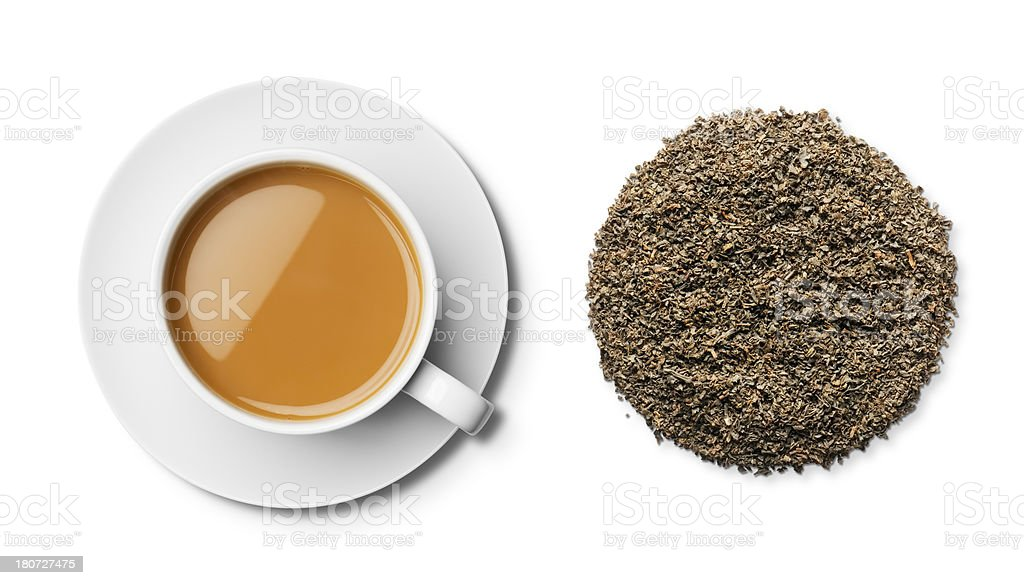 Cup of English Breakfast tea and leaves overhead stock photo
