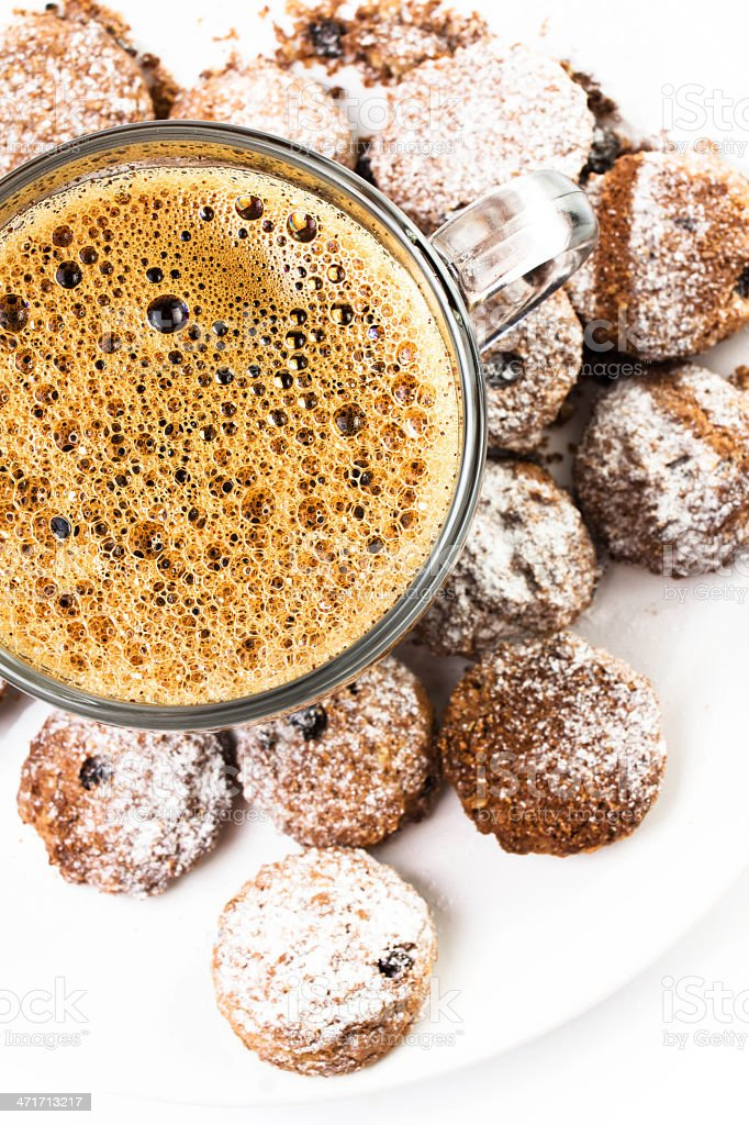 Cup of espresso and small biscotti on white royalty-free stock photo