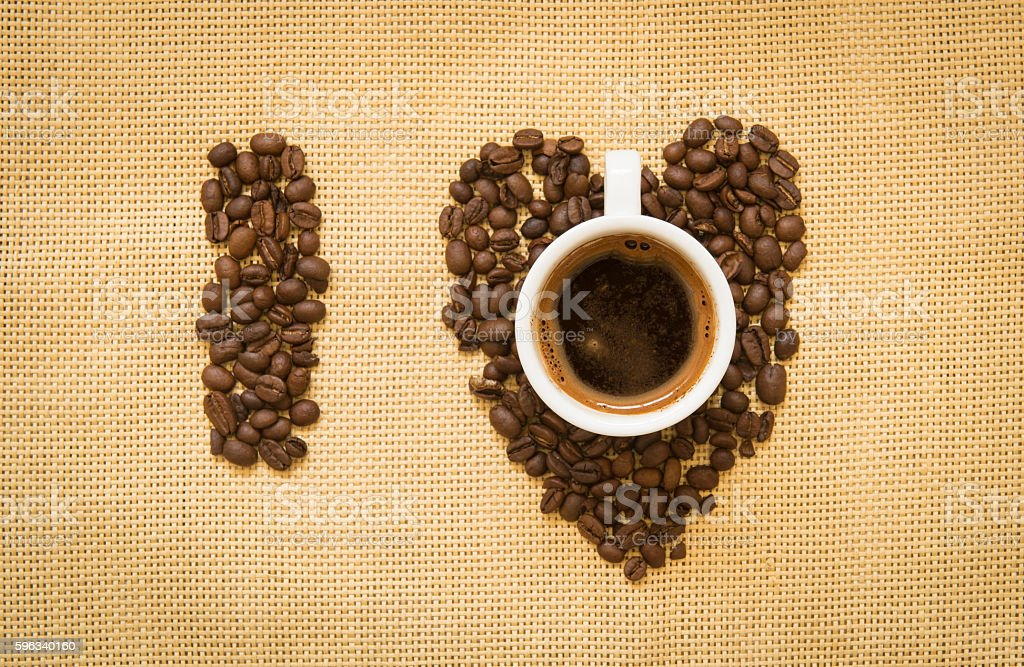 Cup of espresso Coffee and beans royalty-free stock photo