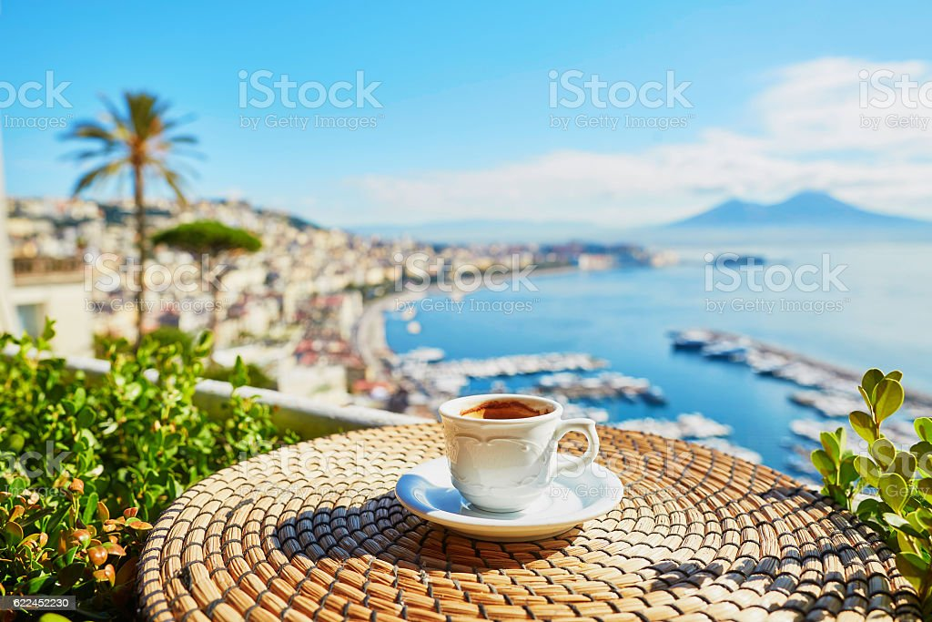 Cup of espresso coffee with view on Vesuvius stock photo
