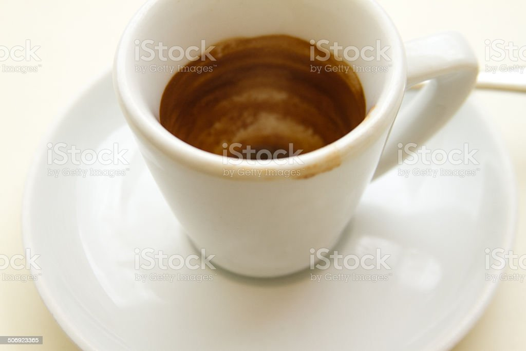 Cup of Espresso, Dirty After Drinking (Close-Up) royalty-free stock photo