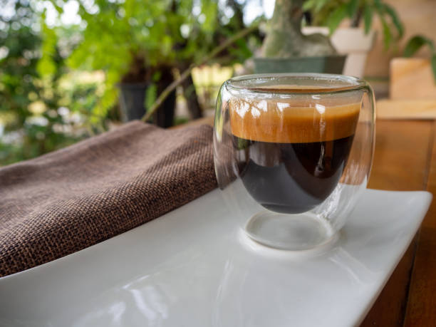Cup of espresso on the table stock photo