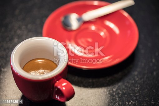 espresso coffee in a red cup