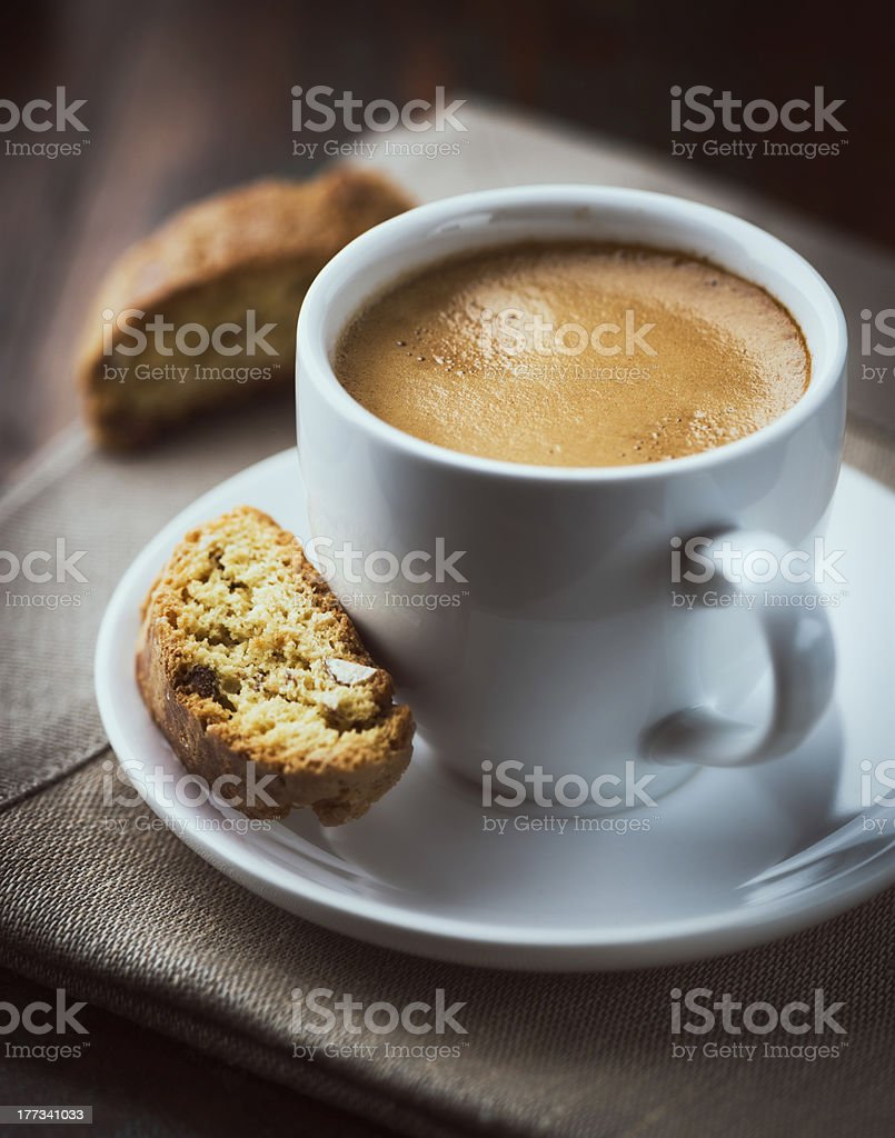 Cup of espresso with cantuccini stock photo