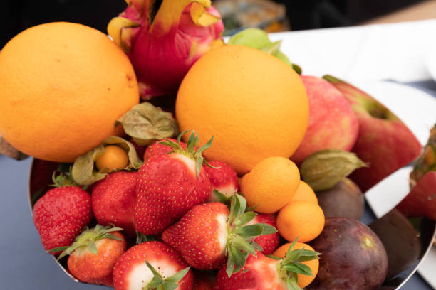 Cup of exotic fruits stock photo