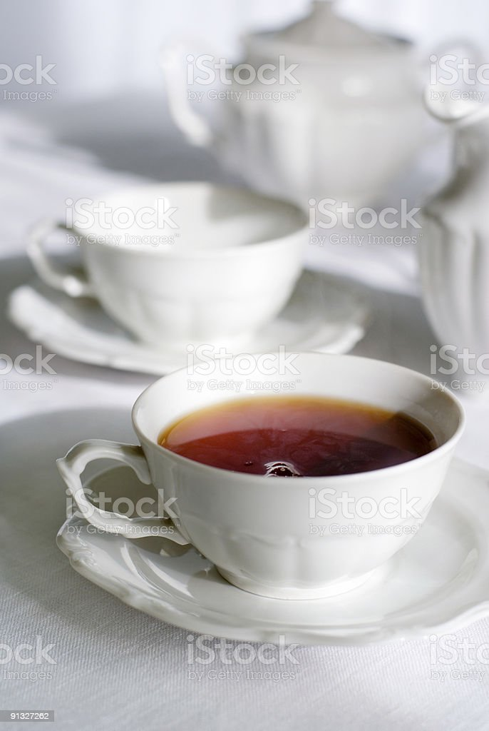 Cup of fresh and steaming tea. royalty-free stock photo
