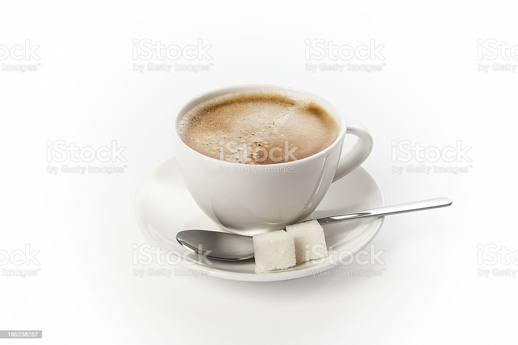 Cup of fresh coffee isolated on white background royalty-free stock photo
