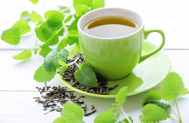 Tasse frischen Tee, frische Minzblätter – Foto