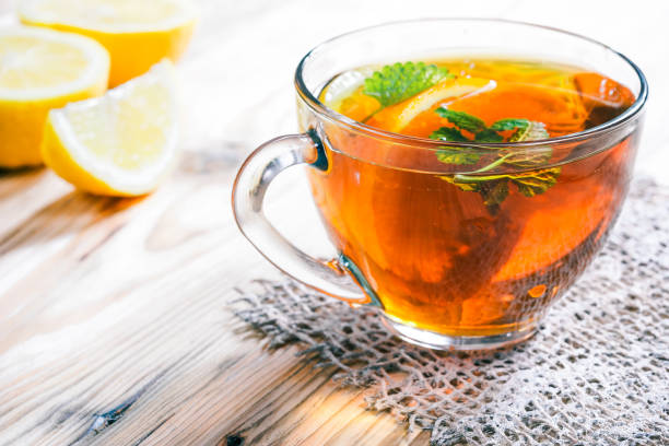 Cup of fruit tea stock photo
