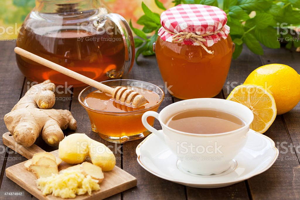 Cup of ginger and mint  tea stock photo