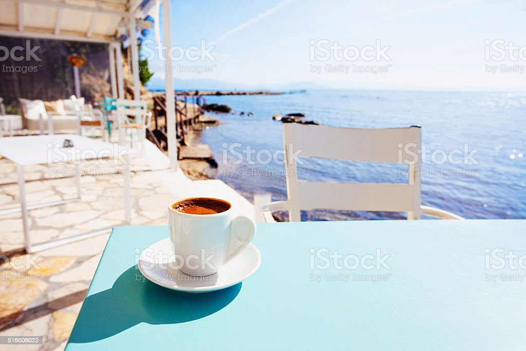 Cup of greek coffee stock photo