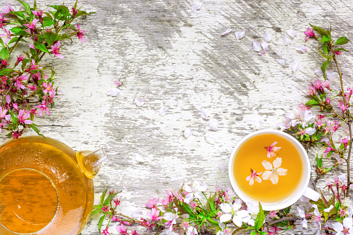 cup of green tea and teapot with branches of blossoming sakura and cherry