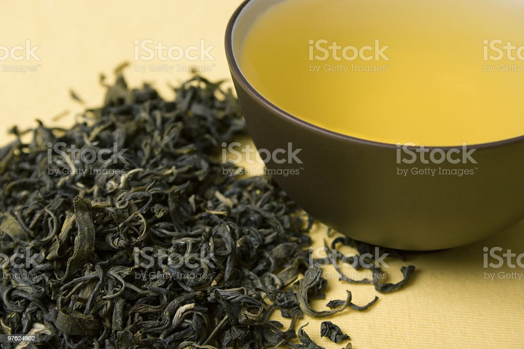 cup of green tea royaltyfri bildbanksbilder