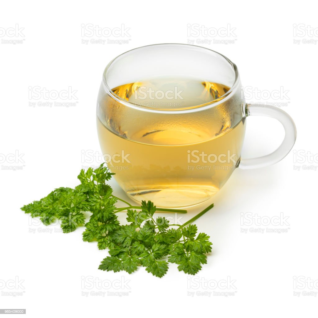 Cup of healthy chervil tea royalty-free stock photo