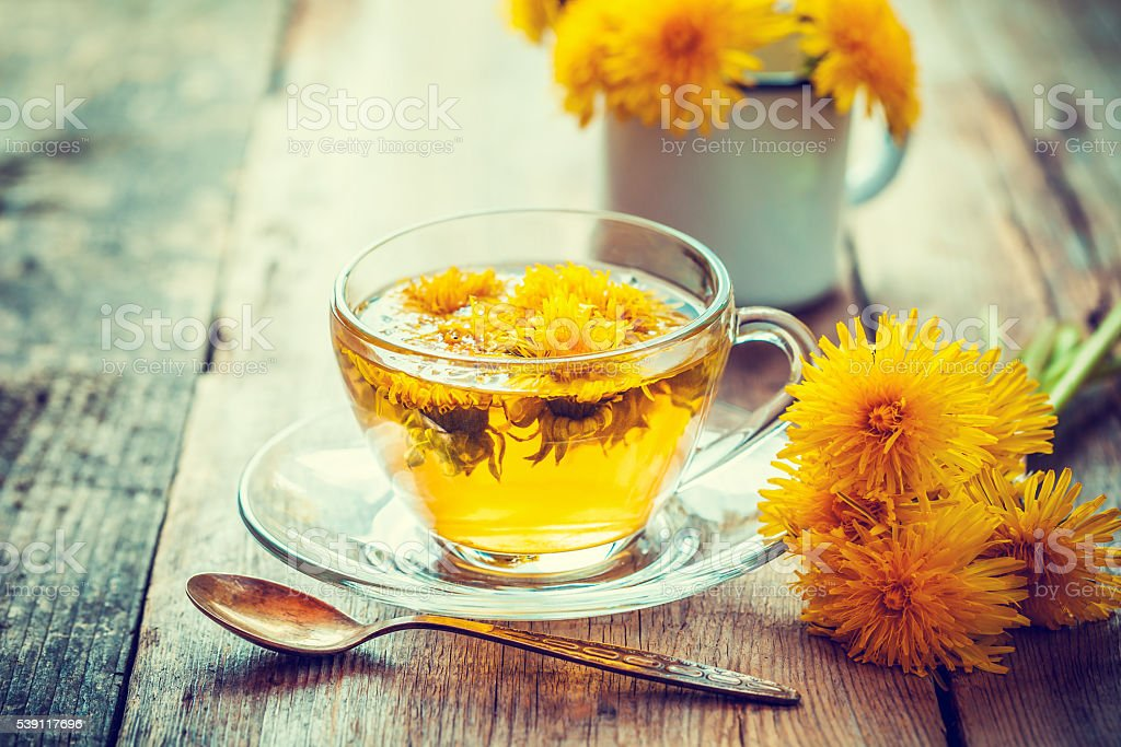 Cup of healthy dandelion tea. Herbal medicine. Retro toned. stock photo