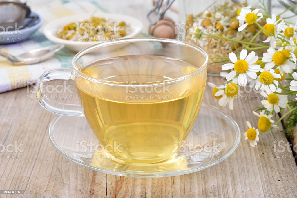 Cup of herbal chamomile tea. stock photo