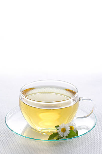 Cup of herbal tea with chamomile flowers圖像檔