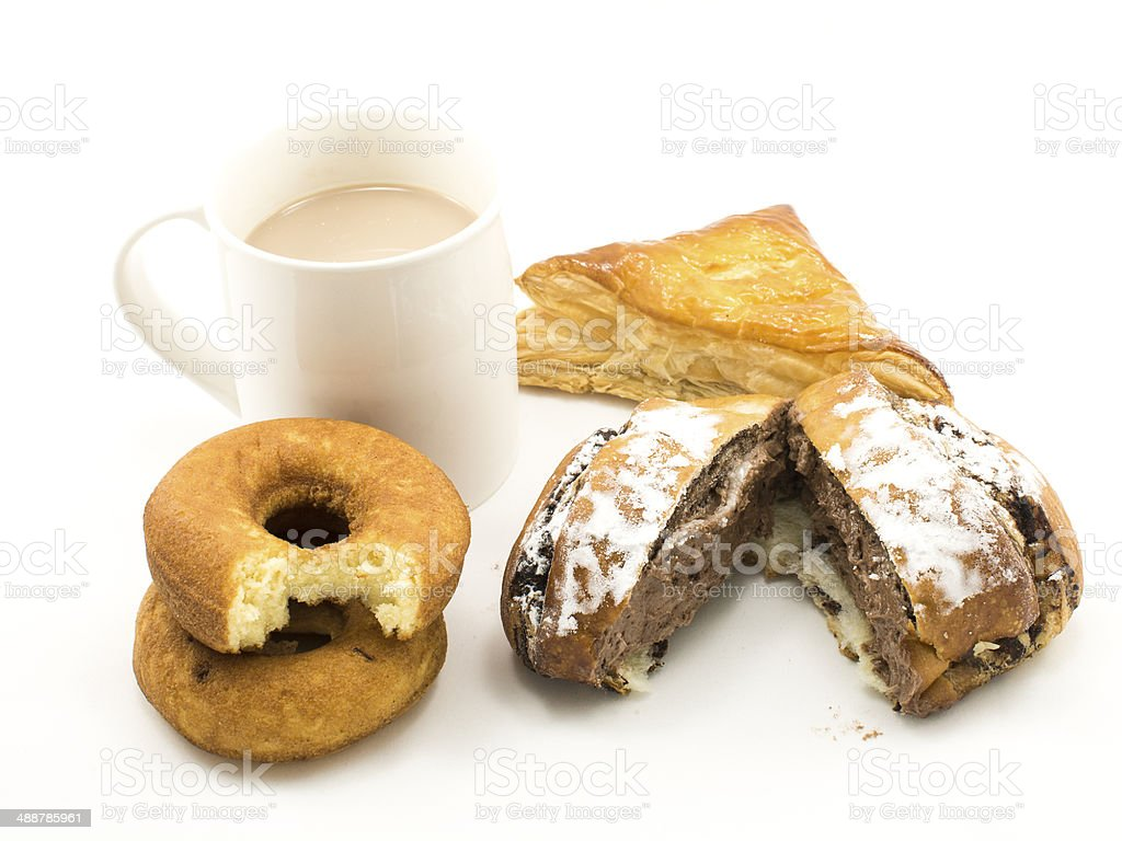 Cup of hot chocolate and group of pastries royalty-free stock photo