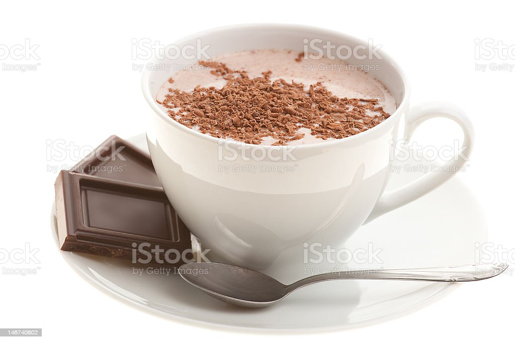 Cup of Hot Chocolate with a Spoon royalty-free stock photo