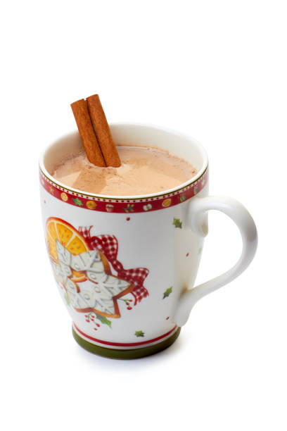 cup of hot chocolate with cinnamon stick on white - trinkschokolade am stiel stock-fotos und bilder