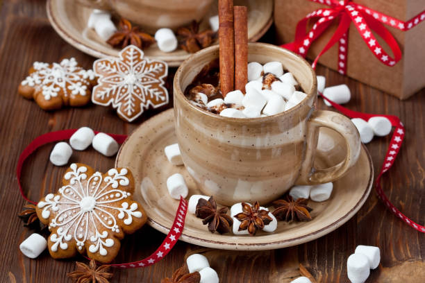cup of hot chocolate with marshmallows and gingerbread cookies - hot chocolate stock photos and pictures