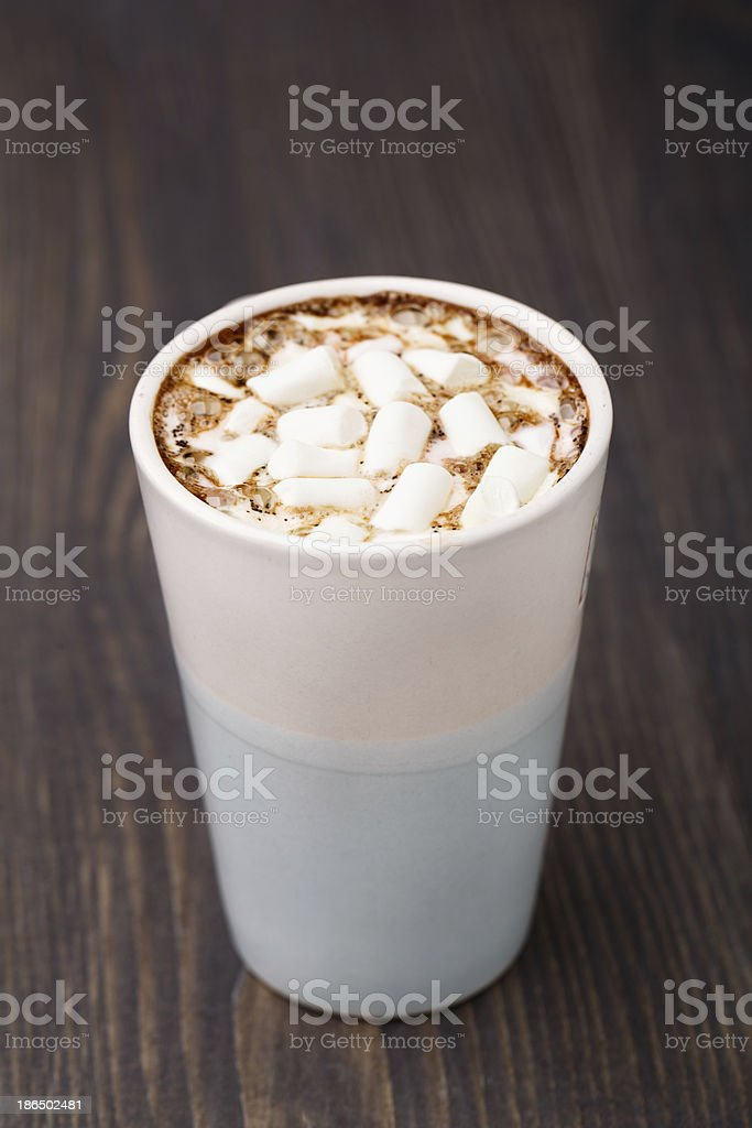 Cup of hot chocolate with marshmallows royalty-free stock photo