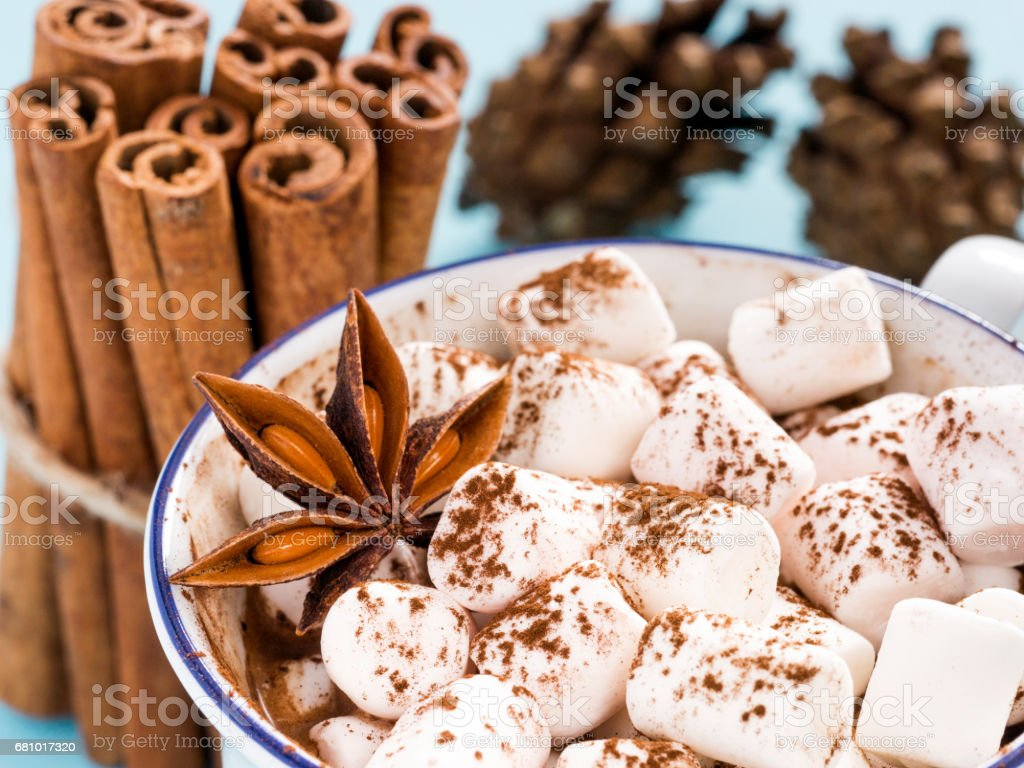 Cup of hot cocoa with marshmallow close up royalty-free stock photo