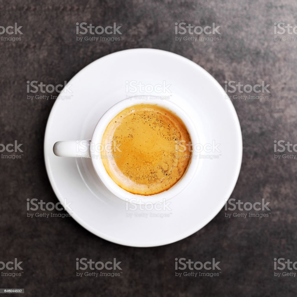 Cup of hot espresso coffee on wood table stock photo