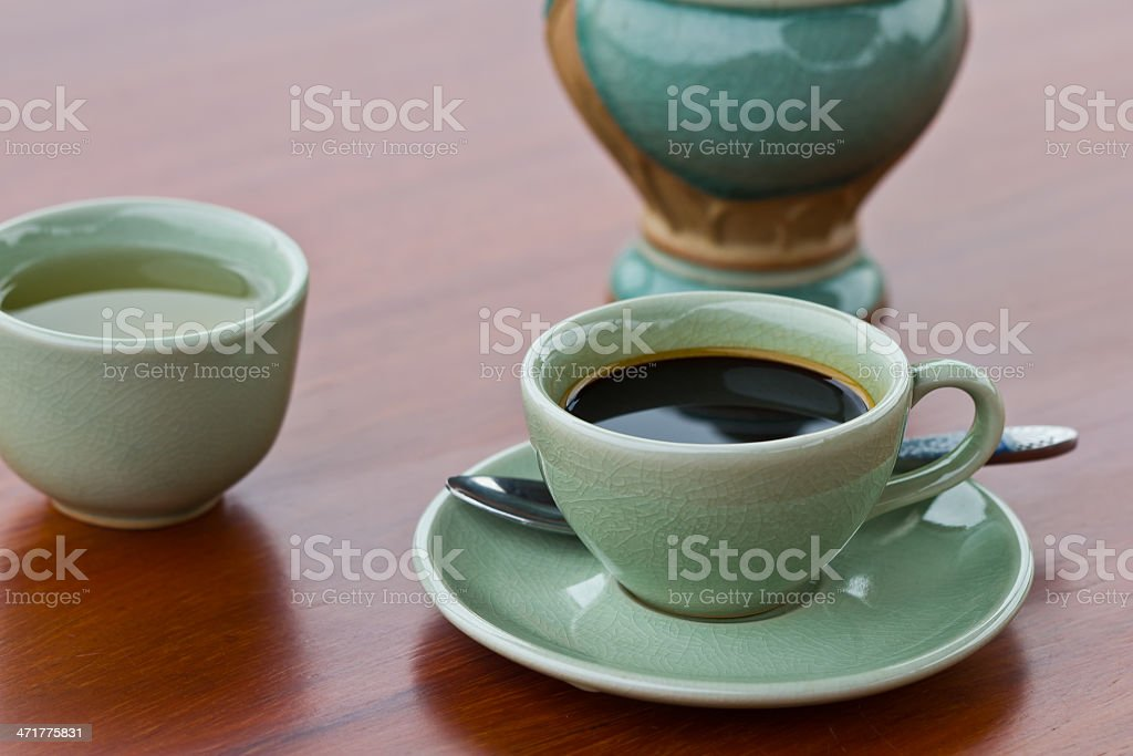 Cup of hot espresso royalty-free stock photo