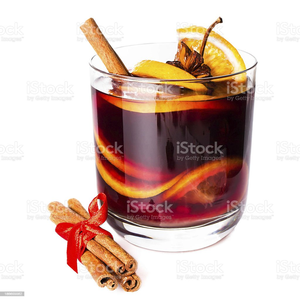 Cup of Hot red mulled wine isolated on white background stock photo