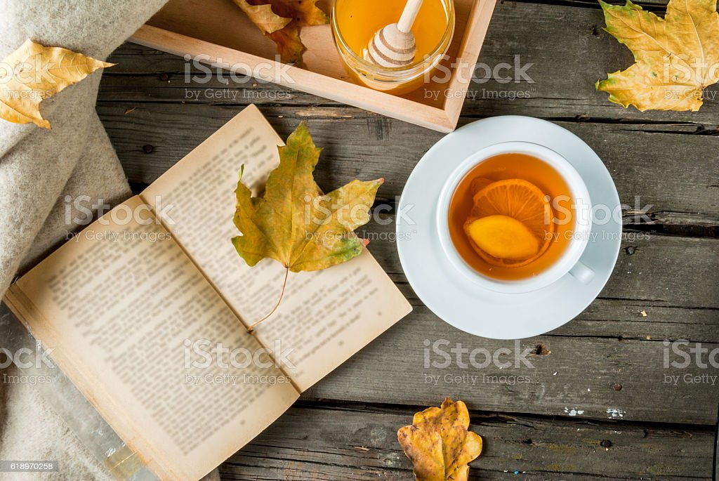 Cup of hot tea with lemon and ginger stock photo