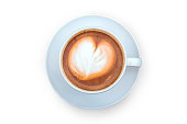 Cup of latte art isolated on the white background, clipping path.