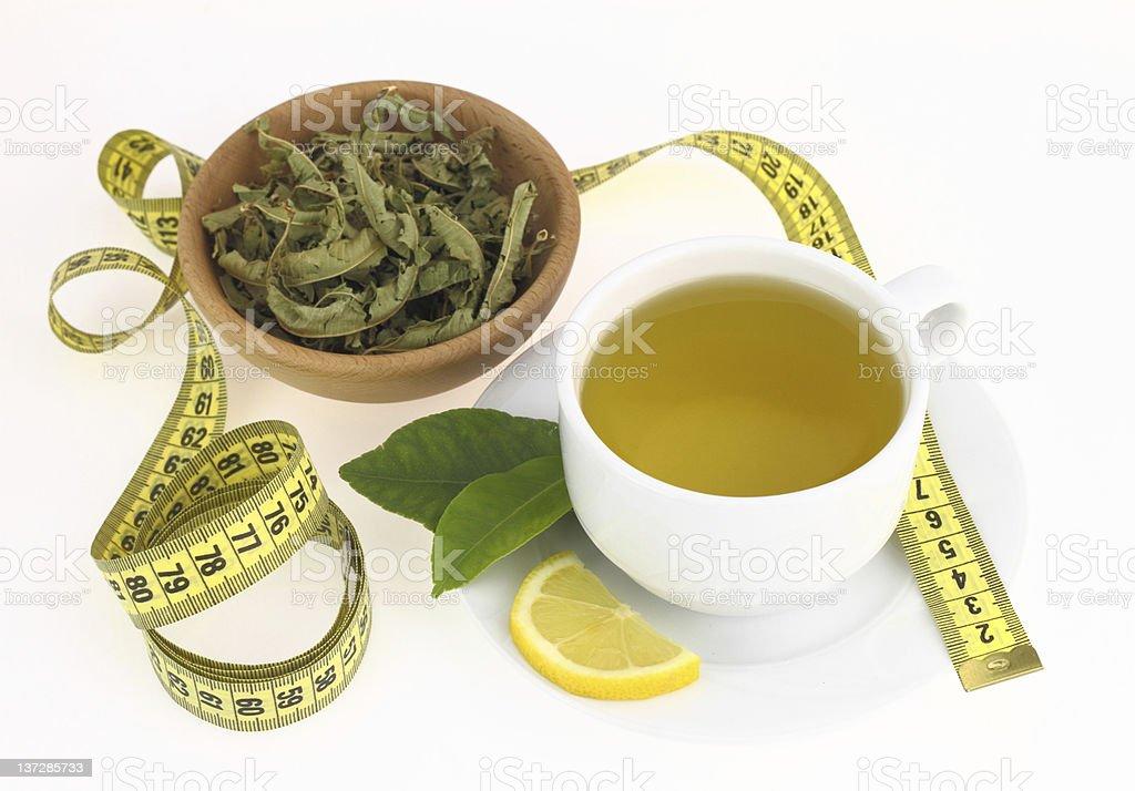 Cup of  lemon verbena stock photo
