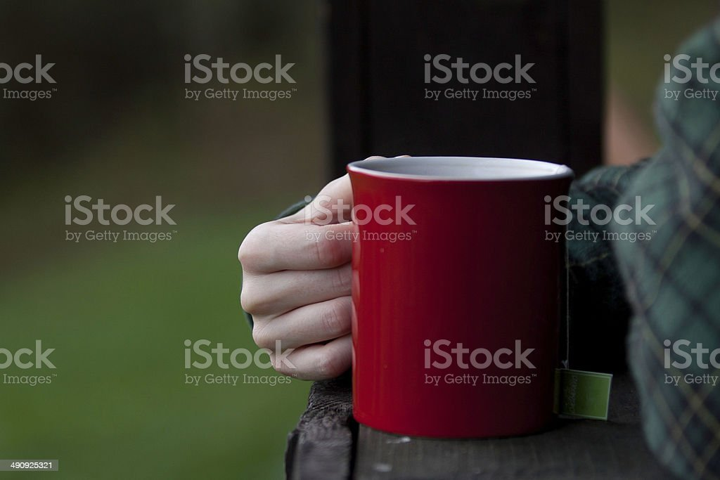 Cup of morning coffee or tea stock photo