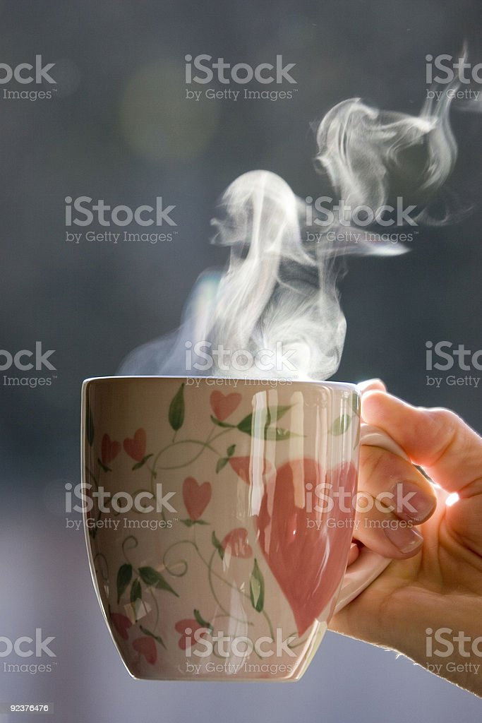 A cup of morning coffee or tea stock photo