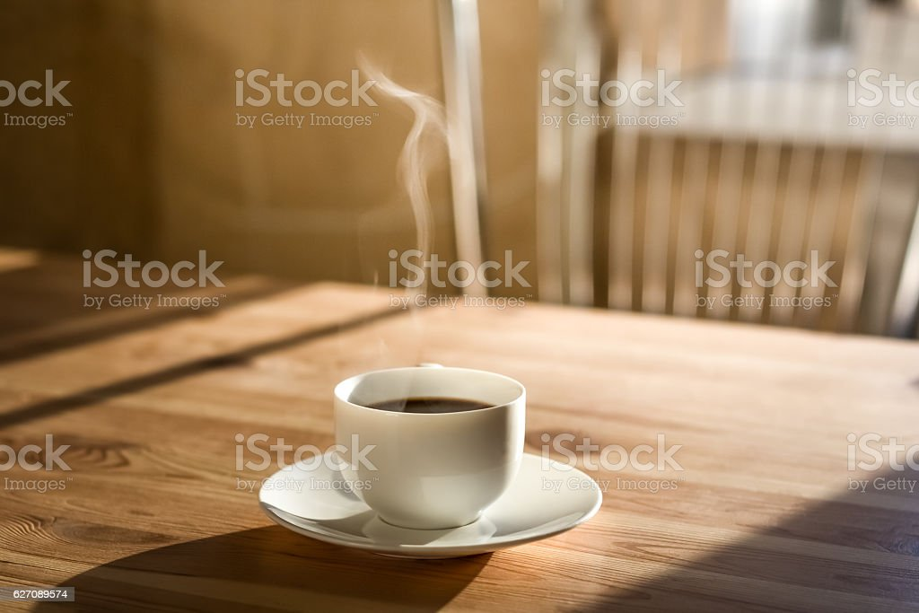 Cup of morning coffee stock photo