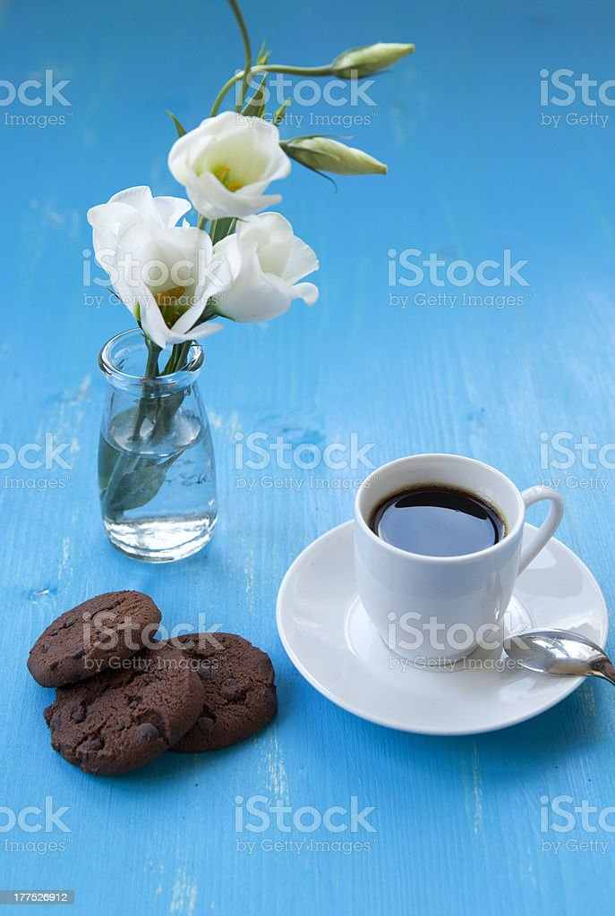 Cup of morning coffee with chocolate cookies royalty-free stock photo