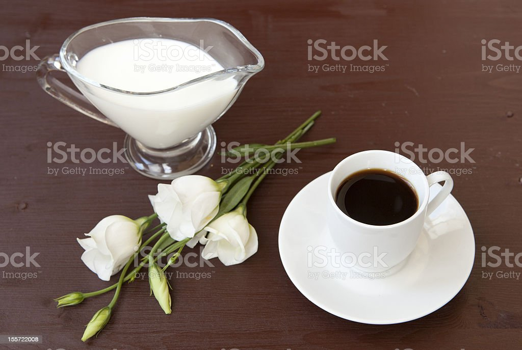 Cup of morning coffee with milk royalty-free stock photo